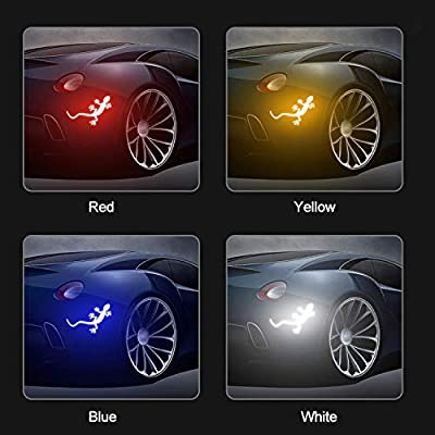 LOCEN Universal Car Reflective Strips,Gecko Shape Warning Safety Reflector Sticker, Side Door Edge Protection for Auto Decals Household Appliances Truck - Yellow -2PCS: Automotive