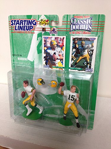 1997 Games Greatest Green Bay Packers QB Brett Favre and Bart Starr NFL Football Action Figure Set with Collectible Trading Cards (Figurine Favre Brett)