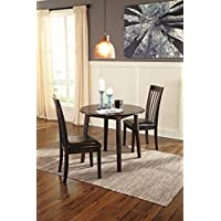 Hammis Dark Brown Color Round Drop Leaf Table w/2 Side Chairs