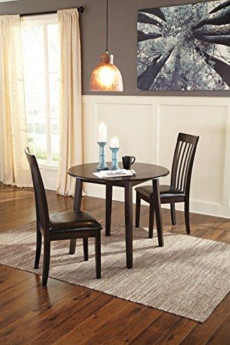 Hammis Dark Brown Color Round Drop Leaf Table w/2 Side Chairs