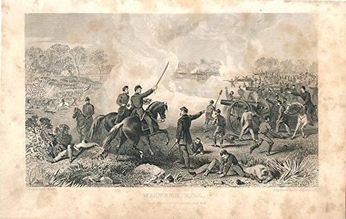 (Battle of Malvern Hill Virginia 1866 antique American Civil War print)