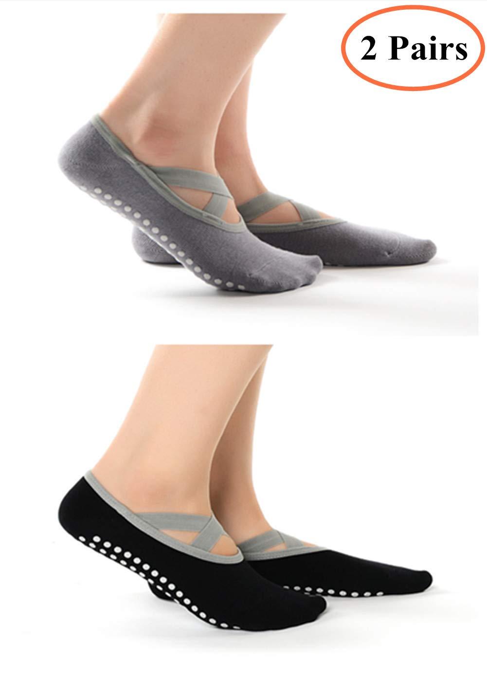 2 Pairs Women Yoga Socks Non Slip Skid with Anti-Slip Straps Grips, Best Pilates Dance Barre Ballet Bikram Fitness Martial Arts Workout Full Toe Ankle Fall Prevention Socks Set, Cotton. (Black+Gray) Junboys