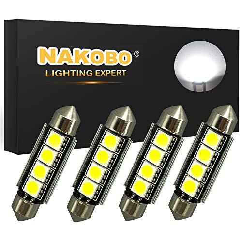 Nakobo Super Bright 578 6411 212-2 569 211-2 Festoon LED Bulbs Canbus Error Free 41MM 42MM Car Interior Dome Map Door Lights, 6000K Xenon White Pack of 4