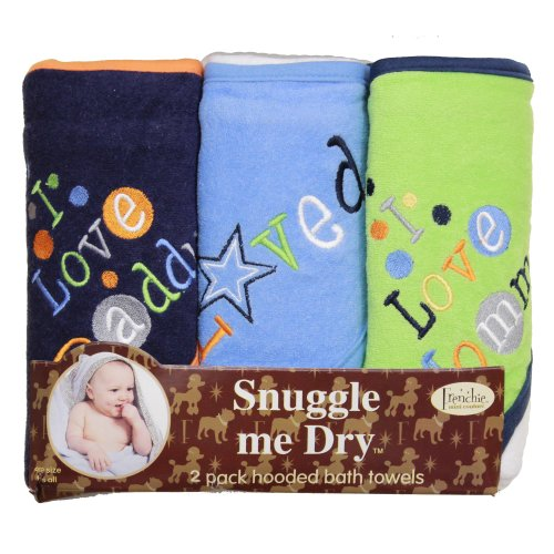 Je aime maman et papa Bath capuche Serviette Set, 3 Pack, Boy, Frenchie Mini Couture