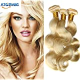 ATOZWIG Hair Products 7A Cheap Bleach Blonde 613 Virgin Brazilian Human Hair Extension 3 Bundles Lot Body Wave Wavy 50G/pcs (3 pcs 18) by ATOZWIG