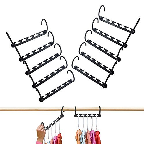 Magic Hanger Master | 10 Pcs Space Saving 5 in 1 Clothes Hanger Closet Organizer Storage with Vertical and Horizontal Options | Premium ABS Material | Solid Black (1 Closet)