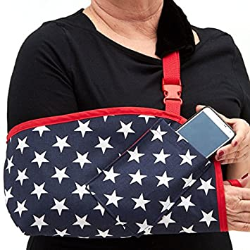 b4555cff38f6b6 CastCoverz! Slingz! Designer Arm Sling in Stars - Medium Left Arm with Real  Red