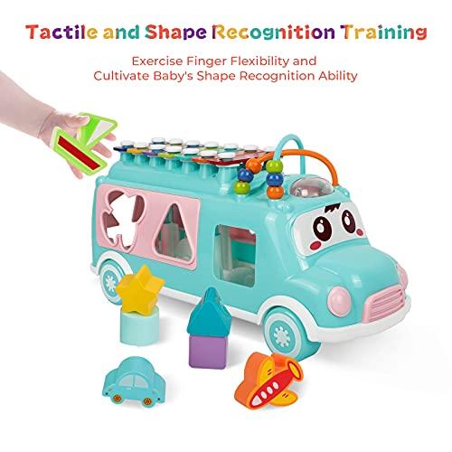DeeXop Baby Toys 12-18 Months+ Activity Cube Toy Bus include Xilofono, Shape Sorter, Pull Along Toys per 1 anno, Toddler giocattoli educativi per lo sviluppo musicale e forma