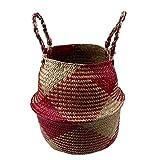 Labu Store Storage Basket Rattan Straw Basket Wicker Folding Flower Pot Seagrasss Flower Baskets Garden Planter pot