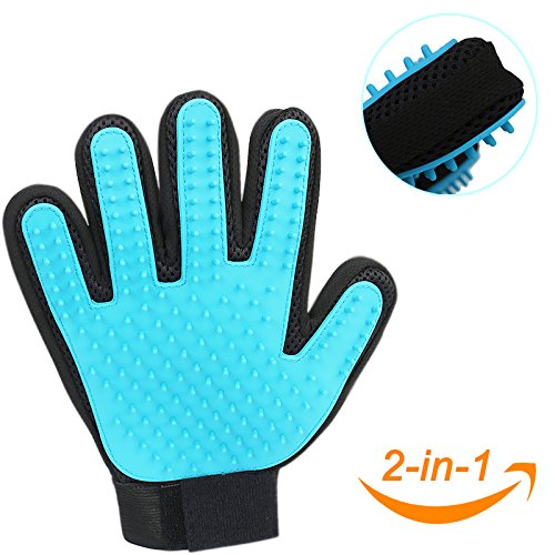 Pet Grooming Glove with Soft Rubber Tips, Designed for Bath, Massage, Hair Cleaning, Perfect Tools for Dogs, Cats, Horses, Rabbits (Double-sided)