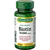 Nature's Bounty Biotin Supplement, Promotes Hair Growth and Strong Hair, 10000mcg, 45 Softgels