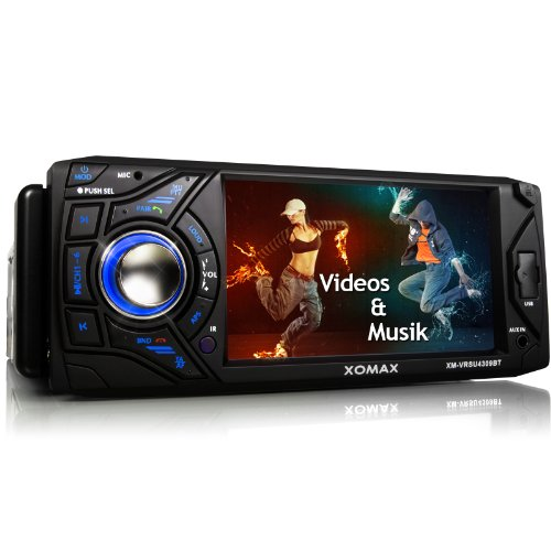 Xomax XM-VRSU4309BT - Radio de coche con Bluetooth (pantalla táctil de 11 cm/ 4,3', USB, lector de tarjetas SD, entrada auxiliar, protector antirrobo, 1 DIN, incluye marco,