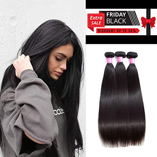 Original Queen 8A Grade Brazilian Straight 3 bundles Deal Silky Straight Virgin Human Hair Weave Extension Mixed Lengths Natural Color 12 14 16 Inches