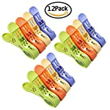 """12 Pcs 4.7"""" Durable Large Beach Towel Clips Plastic Clothespins Clothes Pegs Pins Clothes Hanger Clamp,By Yamde offers"""