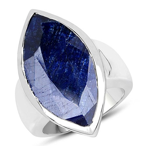Genuine Marquise Blue Sapphire Ring in Brass - Size ()