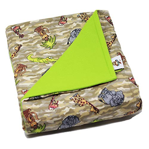 SENSORY GOODS Child Small Weighted Blanket-Made in AMERICA-5lb Medium Pressure-Safari/Lime- Fleece/Flannel (30'' x 48'') Provides Comfort and Relaxation