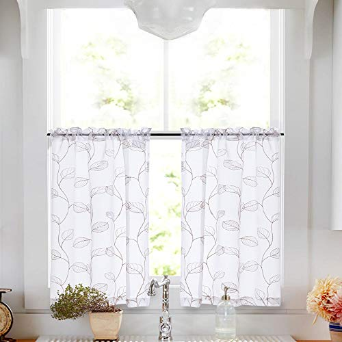 Tier Leaf - Sheer Tiers with Leaf Embroidered Design Rod Pocket Kitchen Curtain 26 by 24 inch Taupe on White