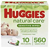 Huggies Natural Care Sensitive Baby Wipes, Unscented, 10 Flip-Top Packs (560 Wipes Total)