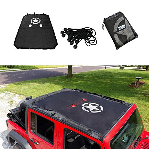 Jeep Wrangler Bikini (cartaoo SunShade Mesh UV Protection Bikini Top Cover Net for 2007-2017 Jeep Wrangler JK JKU 4-Door Version)