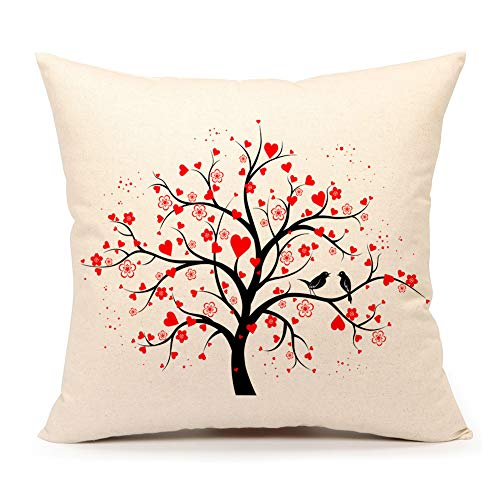4TH Emotion Love Birds with Heart Tree Throw Pillow Cover Cushion Case for Sofa Couch Valentine's Day Home Decoration 18