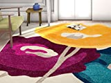 bright colored area rugs - HomeWay Flower 5'3 x 7'3 Vivid rainbow-colored soft Rug Mid-century modern Velvety bright soft Area Rug