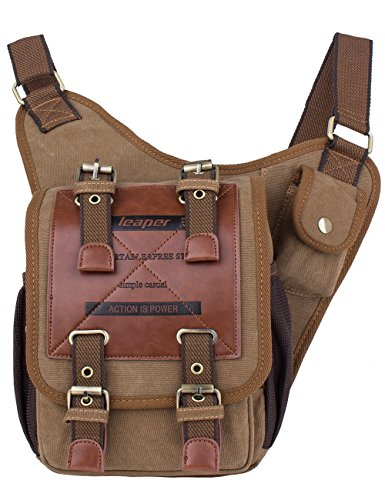 Leaper Vintage Canvas Chest Bag Shoulder Military Messenger Bag Sling Bag (Dark Khaki)