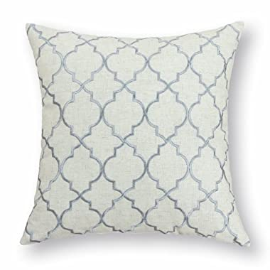 CaliTime Throw Pillow Cover 17 X 17 Inches, Vintage Diamonds Geometric Trellis Embroidered, Neutral Gray