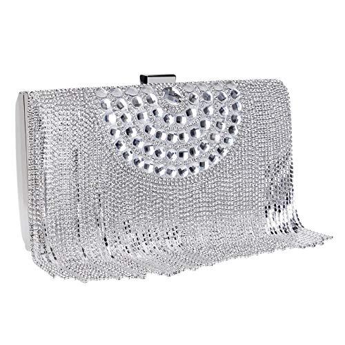 MKHDD Utsökt brud bankett tofs aftonväska litet paket party kristall strass tofs vintage pärlor handväskor totes glitter SILVER