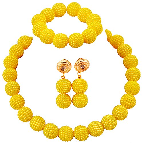 aczuv Nigerian Wedding African Beads Jewelry Set Women Simulated Pearl Necklace and Earrings ()