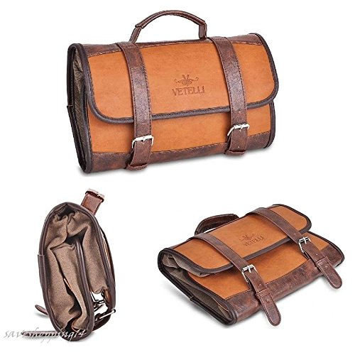 GOOD MEDIA Men Toiletry Bag Travel Kit Case Hanging Wash Pocket Accessories Vintage Design by GOOD MEDIA