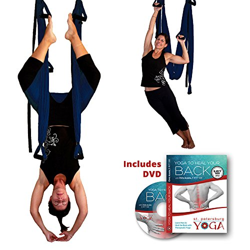 Inversion Sling - Yoga Swing (Dark Blue) + Yoga Back DVD by Gravotonics