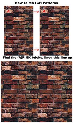 Yancorp Waterproof Self-Adhesive Wallpaper Rust Red Brown Brick Pattern Peel-Stick Wallpaper Wall Stickers Door Stickers Counter Top Stickers (Rust Red Brick) by Yancorp (Image #1)