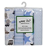 Square Cotton Flannel Receiving Baby Blankets Pack Of 4 - Multi Color