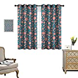 Warm Family Pale Pink Window Curtain Drape Drops and Round Splash of Bubble Gum on Blue Background in Cartoon Style Decorative Curtains for Living Room W72 x L63 Petrol Blue Coral