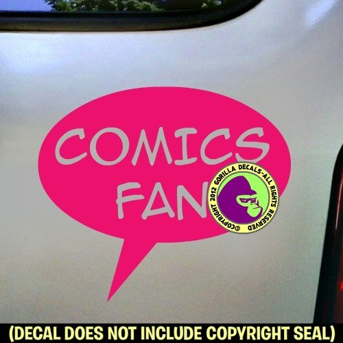 COMICS FAN Zine Club Comic Book Vinyl Decal Bumper Sticker Car Laptop Wall Sign PINK
