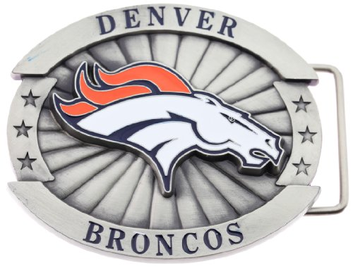 Belt Officially Licensed - Officially Licensed Oversize Denver Broncos NFL Logo Belt Buckle