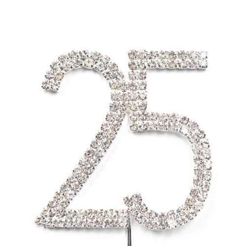 Sunshinesmile Rhinestone Crystal Silver Number 25 Birthday 25th Anniversary Cake Topper - Rhinestone Cake Topper Number 25