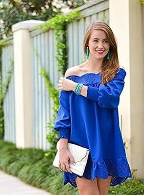 Celewe Women's Off The Shoulder Half Sleeves Peplum Hem Dress