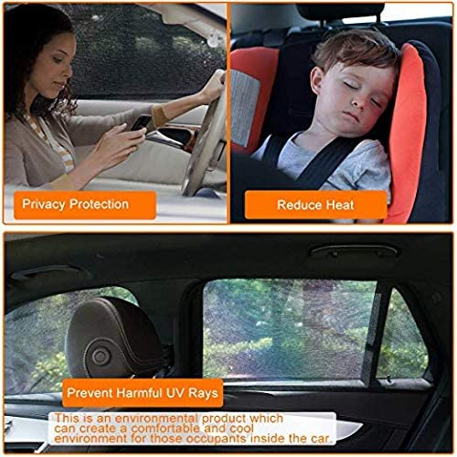 2 Pcs Guluman Car Side Window Sun Shade Baby Kid Pet Breathable Mesh Backseat Fits Small Cars//Compact SUVs