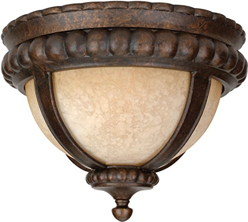 Craftmade Z1217-112 Outdoor Flush Mount Light with Antique Scavo Glass Shades, Bronze Finish