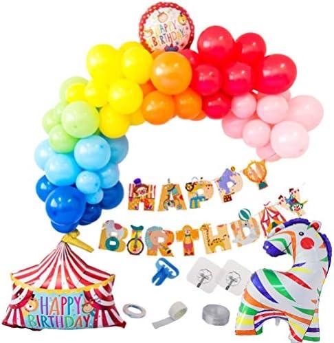 KESYOO 1セットサーカス誕生日バルーンアーチキットカラフルハウス馬バルーンハッピーバースデーバナー誕生日ベビーシャワーパーティー装飾子供