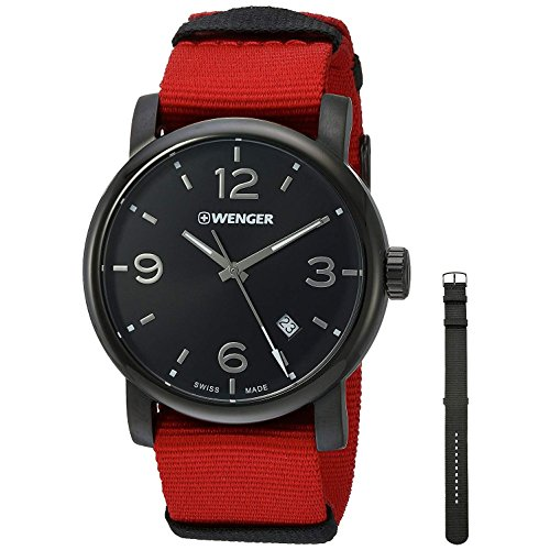 Wenger Men's 'Urban Metropolitan' Swiss Quartz Stainless Steel and Nylon Casual Watch, Color Red (Model: 01.1041.132)