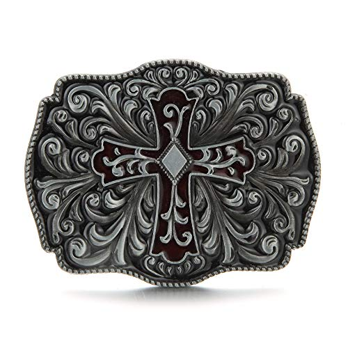 Sam Store® Vintage Cross Belt Buckle Cowboy Native American Motorcyclist (CR-01-S)