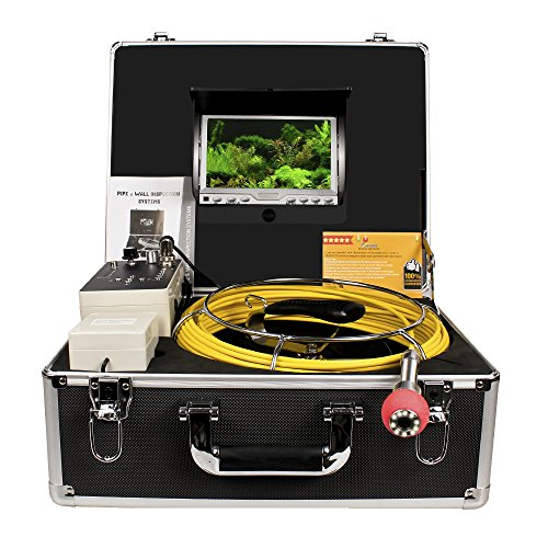 Pipe Sewer Inspection Camera Anysun Waterproof IP68 50m Drain Industrial Endoscope Video Inspection System 7 Inch LCD Monitor 1000TVL Sony CCD DVR Recorder Video Snake Camera(4GB TF Card Include) by Anysun