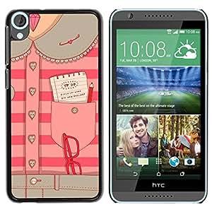 TopCaseStore / la caja del caucho duro de la cubierta de protección de la piel - Secretary Office Pink - HTC Desire 820