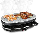 NutriChef AZPKGRST46 Wide Tray Food Prep Raclette, Black