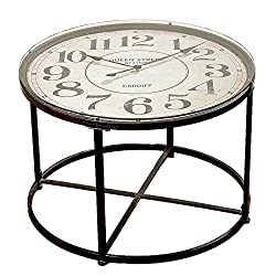 Industrial Chic Clock Table, Vintage Style, Circular Iron Frame, Metal with Glass Top, Quartz Movement, 1 AA Battery (Not Included) 31.5 Diameter x 22 Inches High, Loft Living Collection