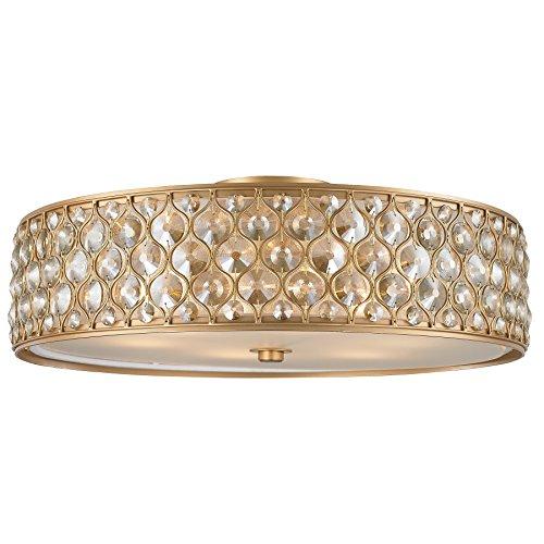 Worldwide Lighting FS411MG24-CM Paris Collection 6 Matte Gold Finish Crystal Ceiling Light D24 H8, Extra Large Flush Mount, Clear/Golden Teak -