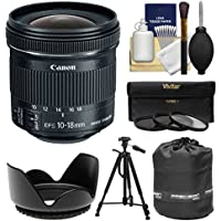 Canon EF-S 10-18mm f/4.5-5.6 IS STM Zoom Lens with Tripod + Hood + 3 Filters + Pouch + Kit for EOS 70D, 7D, Rebel T5, T5i, T6i, T6s, SL1 Camera