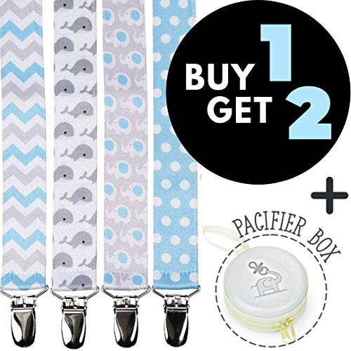 Pacifier Clips Holder for Boys + Pacifier Case by Bubble Pleasure - 4 Pieces Pack - Unisex Universal Designs Pacifiers Clips, Newborn Baby Gift Set, Best Cute Soothies Pacifier Holder for Girl Boy